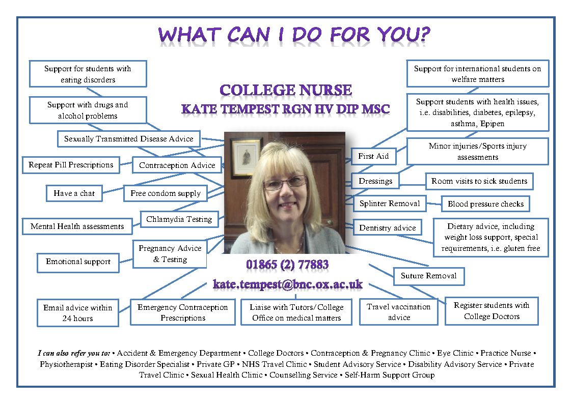 College Nurse BRASENOSE - what I can do for you notice